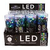 Kurt Adler UL 50-Light 5mm Multi Frost LED Light Set with Green Wire