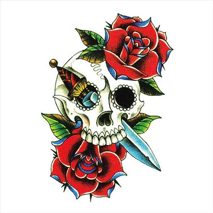 Tatuajes temporales con diseño de calavera rosa y daga para hombre ...