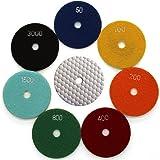 Easy Light 4 Inch Diamond Dry Polishing Pads for Sanding Marble Granite Stone (Pack of 7, Grit 50-3000)