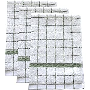 "Ultra Absorbent, Quick-Drying Kitchen Dish Towels (Set of 3) | Premium Microfiber & Cotton Blend Hand Towels for Cleaning, Scrubbing, Washing, and Drying | Durable Reinforced Edges | 23"" X 16"" Green"