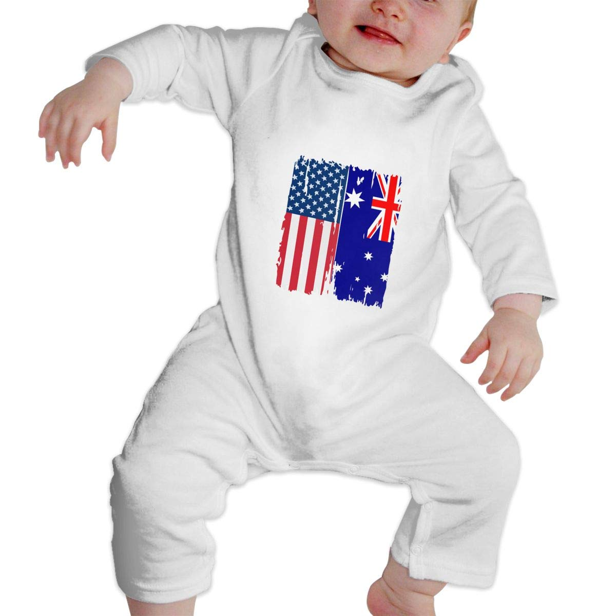 A1BY-5US Infant Babys Cotton Long Sleeve American Australian Flag Jumpsuit Romper Funny Printed Romper Clothes
