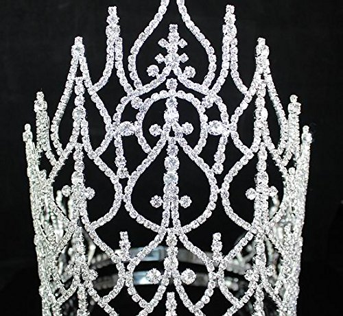 Beauty Queen Crown Tiara Clear Austrian Rhinestone Crystal Pageant Large T1413 by royal*wedding (Image #2)