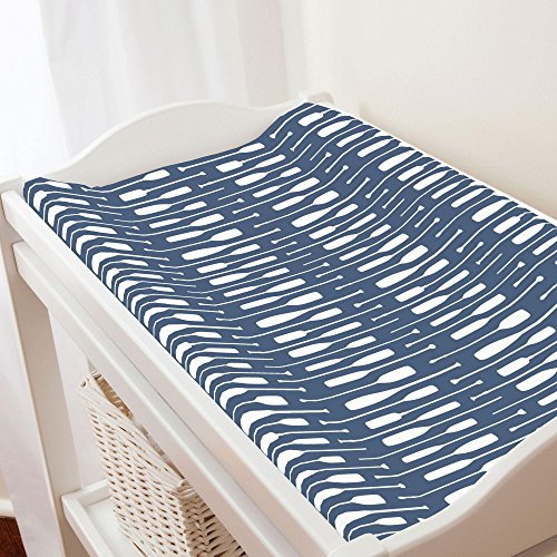 Carousel Designs Denim and White Oars Changing Pad Cover - Organic 100% Cotton Change Pad Cover - Made in the USA (Denim Pad Changing)