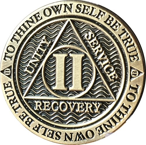 Recoverychip 2 Year AA Medallion Reflex Antique Chocolate Bronze Chip