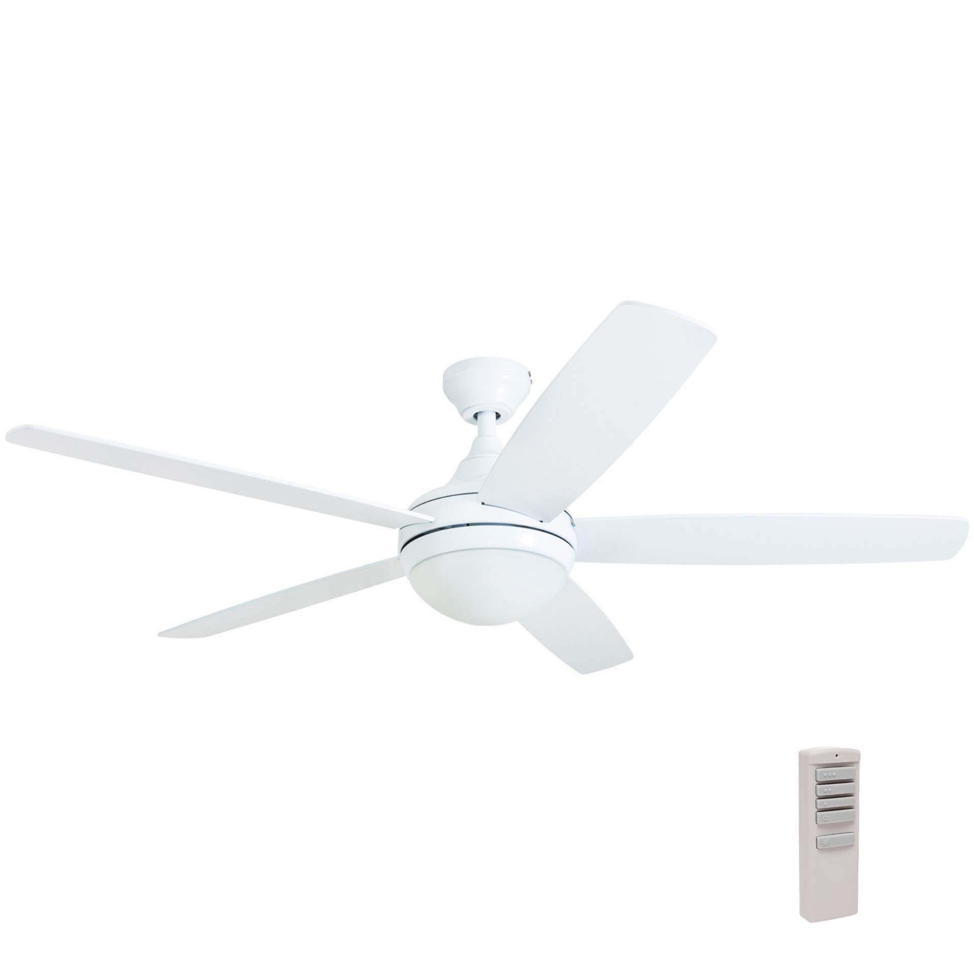 Prominence Home 80094-01 Ashby Ceiling Fan with Remote Control and Dimmable Integrated LED Light Frosted Fixture, 52'' Contemporary Indoor, 5 Blades White/Grey Oak, Farmhouse White