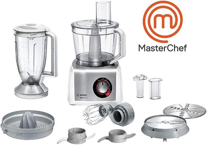 Bosch MC812S820 MultiTalent 8 - Procesador de alimentos / robot de cocina, 1.250 W, 3.9 litros de capacidad, multi-accesorios, color blanco y acero inoxidable: Amazon.es: Hogar
