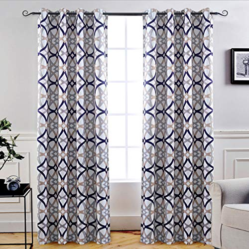 DriftAway Alexander Thermal Blackout Grommet Unlined Window Curtains Spiral Geo Trellis Pattern Set of 2 Panels Each Size 52 by 96 Inch Navy and Gray