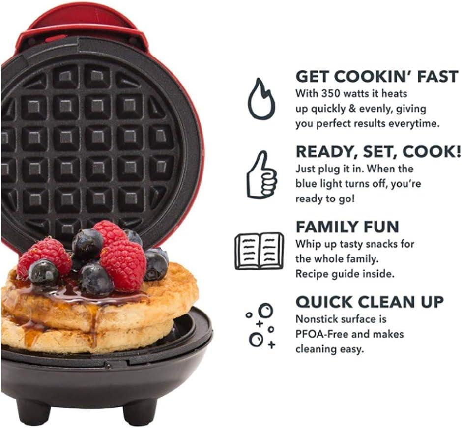 Mini Waffle Maker Macchina 350W Bubble Egg Cake Forno Colazione Rivestimento Antiaderente Waffle Pot Egg Pan Mach per Cucina Facile da Usare Facile da Pulire,Rosso Red