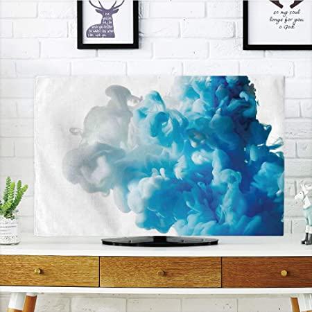iprint LCD TV Cubierta de Polvo, Abstracto, 3D gráfico ilustración Cuadrados patrón Moderno Mosaico geométrico diseño, Celeste Azul Blanco, diseño de impresión 3D Compatible 32 Pulgadas TV: Amazon.es: Hogar