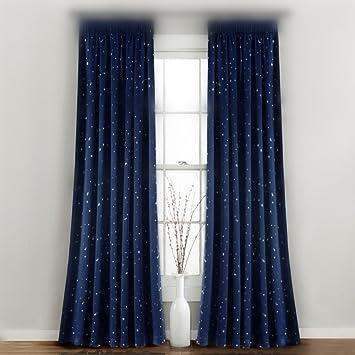 WPKIRA Window Treatments Navy Grommet Curtains Room Darkening Stars Print Blackout Panels Drapes For