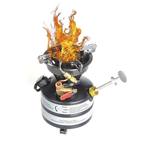Docooler Estufa de Gasolina Anafe Quemador Cocina Portátil Hornillo de Acero Inoxidable para Camping Pesca Senderismo y Montañismo