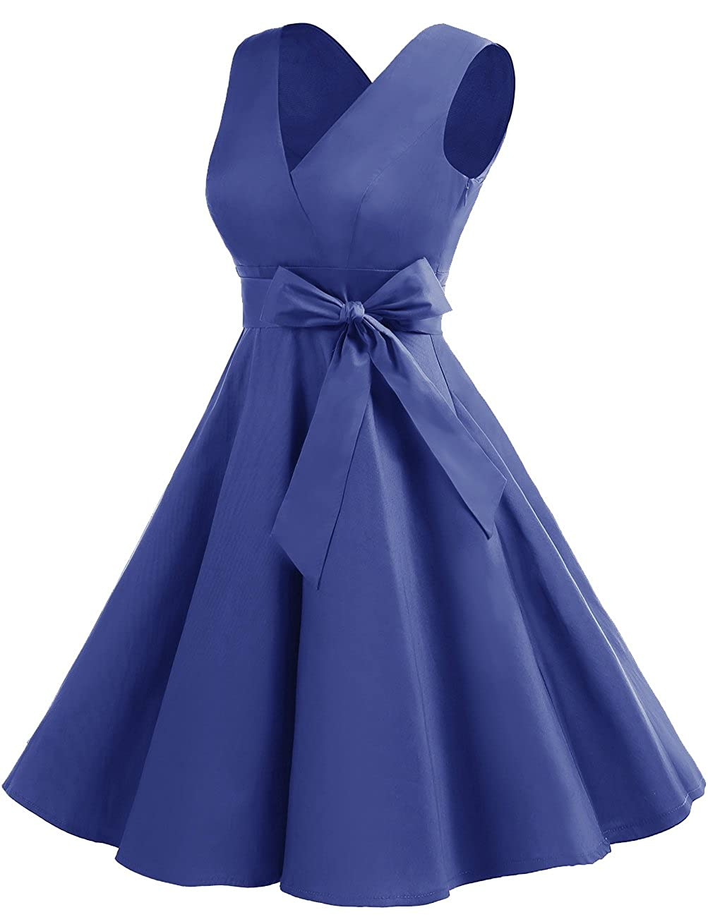 342ef5dde030 DRESSTELLS Vintage 1950s Solid Color V Neck Retro Swing Dress with Bow Tie  at Amazon Women's Clothing store: