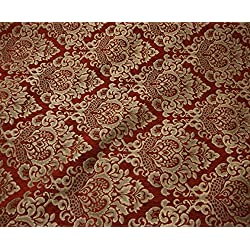 """56"""" Wide Ruby Cleopatra Chenille Fabric Gold Damask Print Upholstery Furniture Fabric By the Yard"""