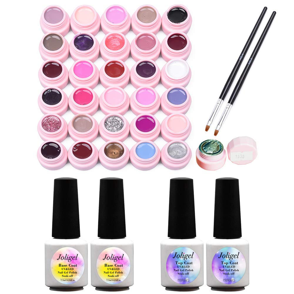 Gel Nail Polish Starter Kit, 2 Base Coat + 2 Top Coat + 2 Matte Top + 30 Colors UV LED Semi-Permanent Soak-off Shellac Gel for Nails Manicure, with 2 Brushes + Mini UV/LED Lamp with USB Joligel