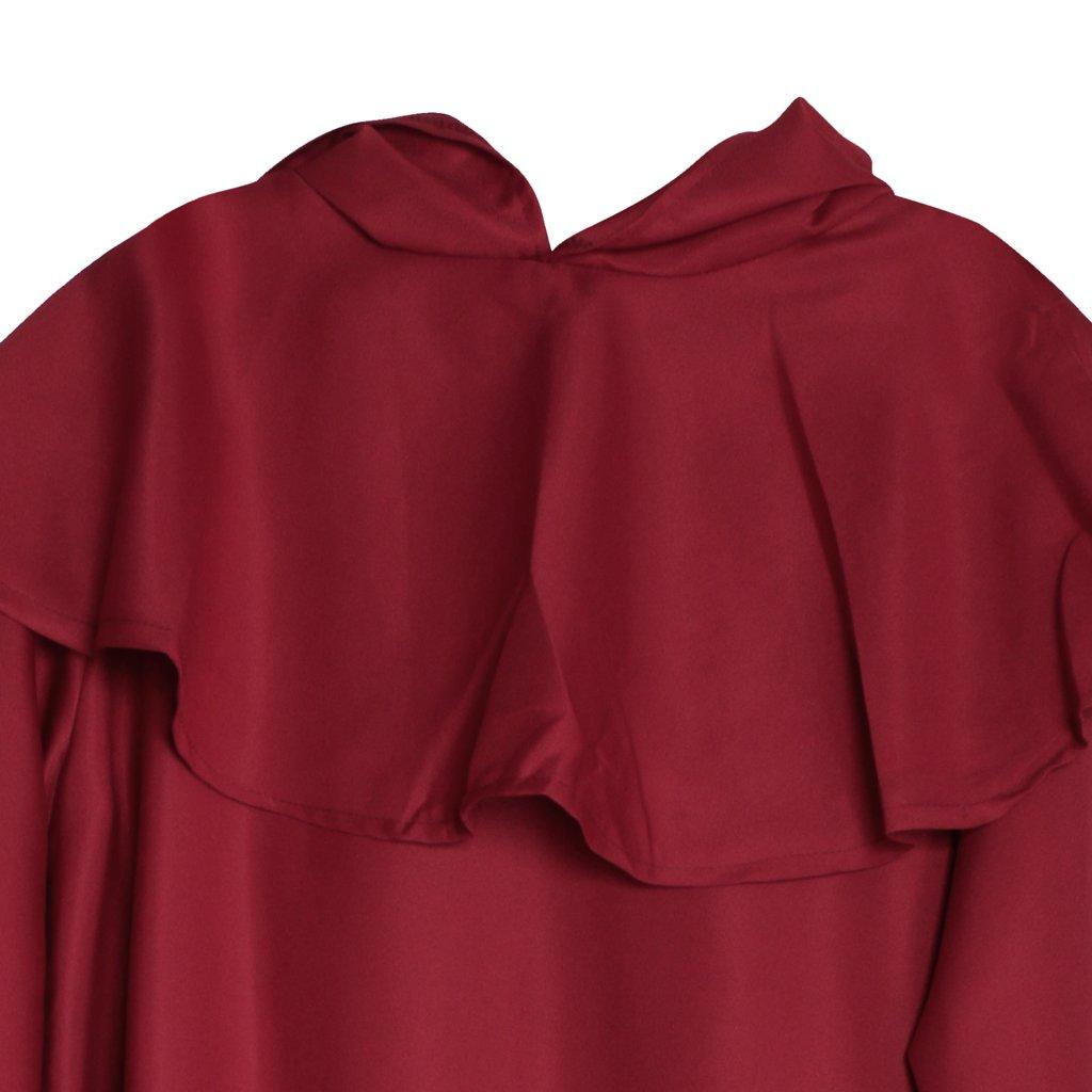Traje Fraile Medieval Encapuchado Monje Sacerdote Ropa para Disfraz Cosplay Rojo/Café - Rojo, L