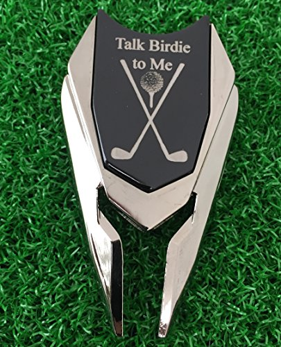 (The Quintessential Hostess TALK BIRDIE TO ME Engraved Golf Divot Tool and Ball Marker (Black) Personalized for Husband Boyfriend Gift)