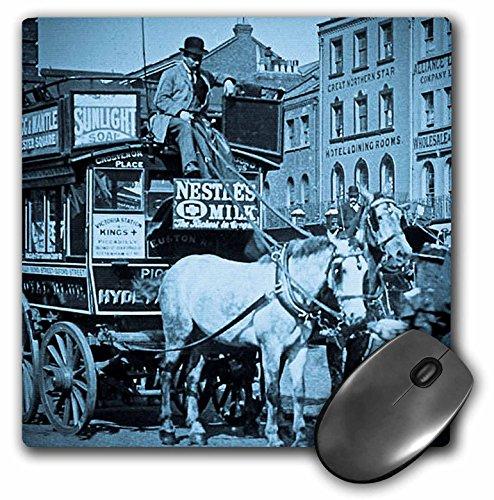 3dRose Scenes from the Past Magic Lantern Slides - Kings Cross London Street Tram Taxi Cyan - MousePad (mp_8491_1)