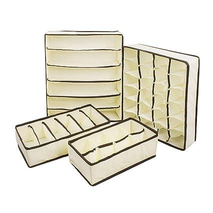 Laat - Juego de 4 cajas de almacenaje con compartimento separado en no tejido para ropa