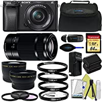 Sony Alpha a6300 Mirrorless Digital Camera with 16-50mm Lens + Sony E-Mount 55-210mm F 4.5-6.3 Lens + Pixi-Advanced Accessory Bundle - International Version At A Glance Review Image