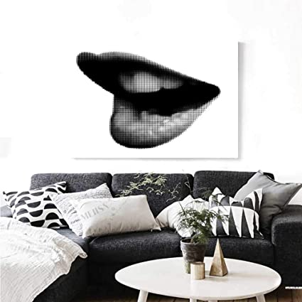 2586f1bfa Modern Wall Art Canvas Prints Digital Dotted Spotted Stylized Sexy Happy  Woman Lips Contemporary Display Ready