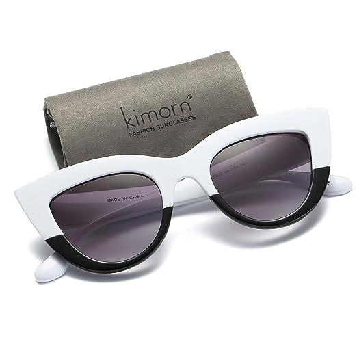 Kimorn Œil De Chat Lunettes de Soleil Pour Femmes Plastique Grand Cadre Métal Charnières K0568 (Noir&Rose) M73O4Y