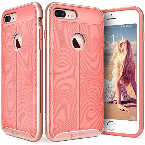 iPhone 7 Plus Rose Gold Case, Vena vAllure Wave Texture, Bumper Frame, Drop Protection CornerGuard ShockProof, Strong Grip, Slim Hybrid Cover for Apple iPhone 7 Plus (5.5)
