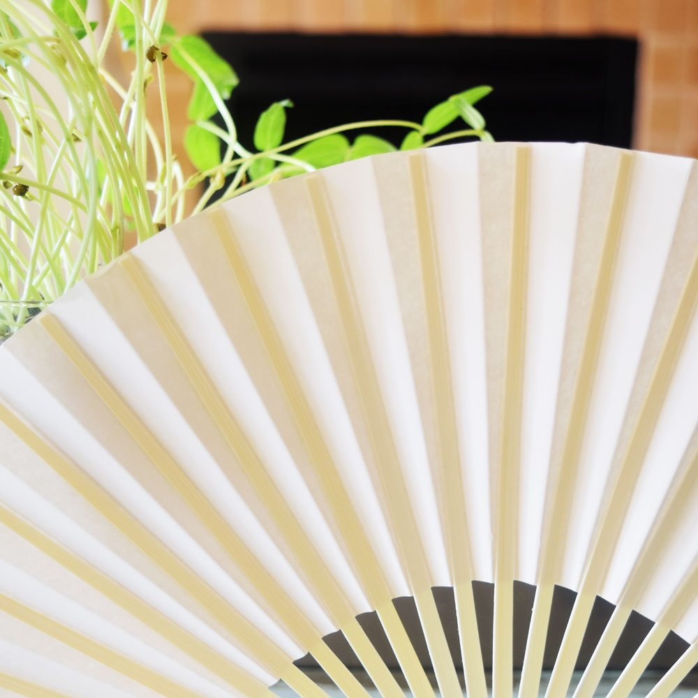 PaperLanternStore.com 9'' Beige / Ivory Paper Hand Fans for Weddings, Premium Paper Stock (100 Pack) by Quasimoon