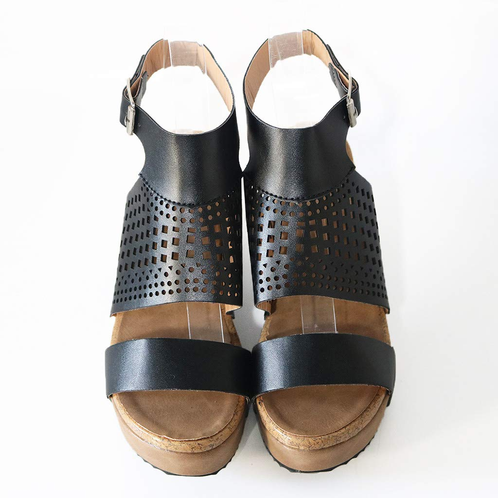 Women's Summer Wedge Sandals Openwork Mesh Roman Sandals Ankle Buckle Casual Beach Party Shoes by Sharemen(Black,US: 5.5) by Sharemen Shoes (Image #5)
