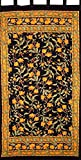 Cheap French Floral Tab Top Curtain Drape Panel Cotton 44″ x 88″ Amber Black