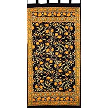 """French Floral Tab Top Curtain Drape Panel Cotton 44"""" x 88"""" Amber Black"""