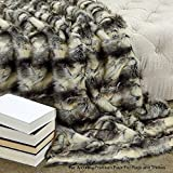 Fur Accents Throw Blanket Warm White Gray and Black Patch Fox Faux Fur /60'' X 70'' (5'x7')