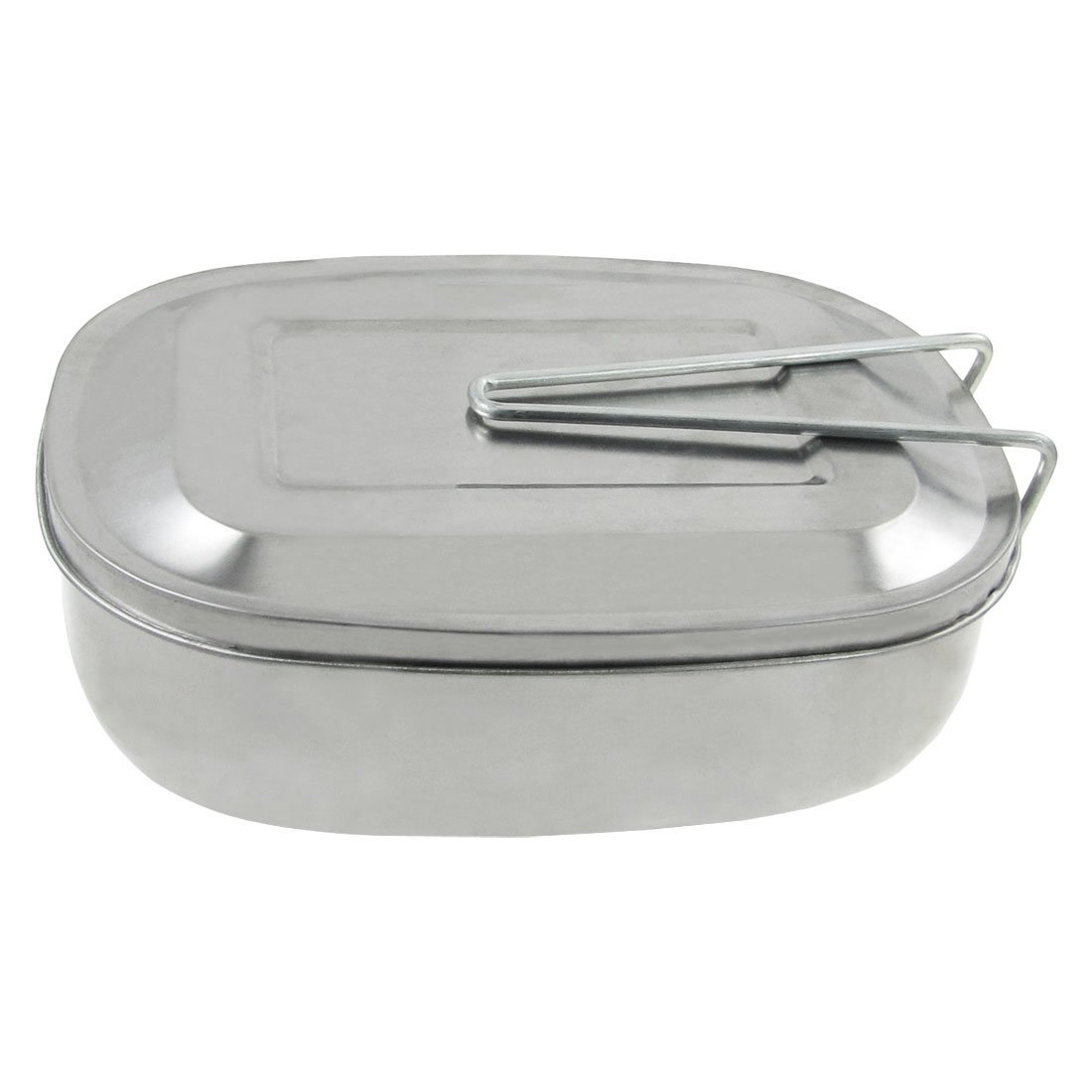 SODIAL(R) Silver Tone Picnic Case Mess Tin Lunch Box w Handle