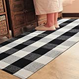 """Ukeler 100% Cotton Rug Hand-woven Checkered Carpet Braided Kitchen Mat Black and White Floor Rugs Living Room Area Rug, 35.5""""x58.6"""", Black and White Plaid Rug For Sale"""