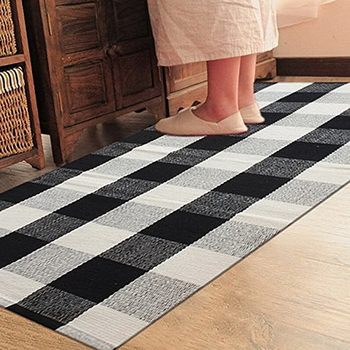 Ukeler 100% Cotton Rug Hand-Woven Checkered Carpet Braided Kitchen Mat Black and White Floor Rugs Living Room Area Rug, 35.5''x58.6'', Black and White Plaid Rug ()