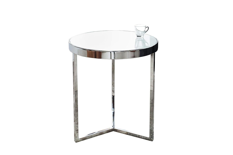 DuNord Design Beistelltisch Glastisch LILLE 50cm chrom   weiss Design Milchglas Couchtisch
