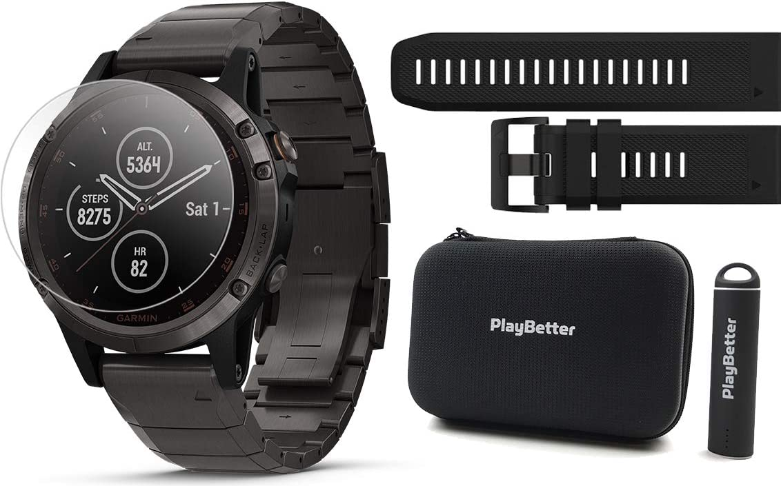 Garmin Fenix 5 Plus Sapphire Bundle with Screen Protectors, PlayBetter Portable Charger Protective Case Multisport GPS Watch, TOPO Maps, Garmin Pay, Music Spotify Titanium w DLC Titanium Band