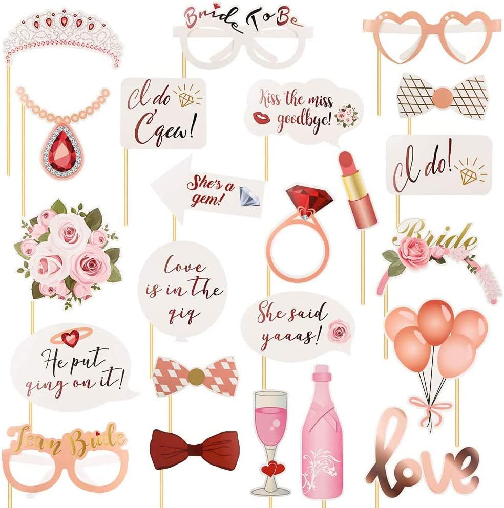 Hen Party Team Bride Funny Selfie Props Wedding Night Do Party Ideal Hen Party Accessories SIMUER 23Pcs Wedding Photo Booth Props Rose Gold