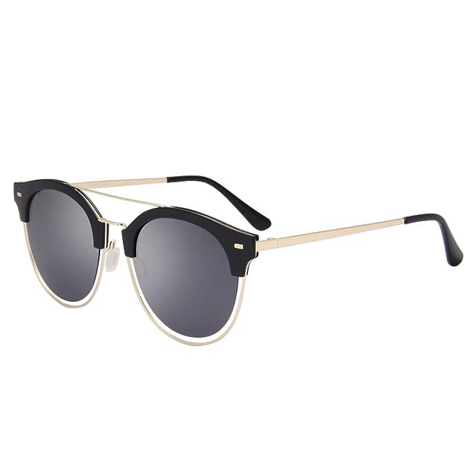 6ffe93bb11d Jardin D amour Round Vintage Mirror Lenses UV Protection Polarized Unisex  Sunglasses JA6060 BLACK