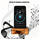ARCHEER Cell Phone Stand, iPhone Stand Holder Bamboo Wood Phone Dock with Sound Amplifier, Natural Bamboo Stands for iPhone 7, iPhone 6s, iPhone 6 Plus and Android Smartphones Within 5.2 Inches