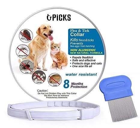 U-picks Collar antipulgas y garrapatas para Perros y Gatos, Resistente al Agua y Natural, con 8 Meses de protección, Seguro y eficaz, repele pulgas y ...