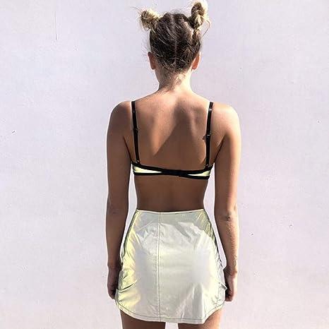 f7c575a2f7235f Amazon.com  Clothful 💓 Women Reflective Buckles Festival Bralette Bra  Bustier Crop Tops Camisole  Clothing