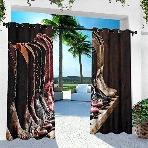 (leinuoyi Western, Outdoor Curtain Ties, Photograph of Various Type of Rodeo Fancy Cowgirl Leather Boots Collection Image Art, Balcony Curtains W108 x L96 Inch Brown)