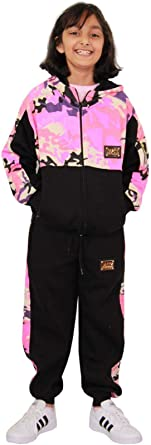A2Z 4 Kids/® Kids Girls Tracksuit Designers A2Z Badged Camouflage Baby Pink Contrast Panel Hooded Top Bottom Jogging Suit Age 2 3 4 5 6 7 8 9 10 11 12 13 Years