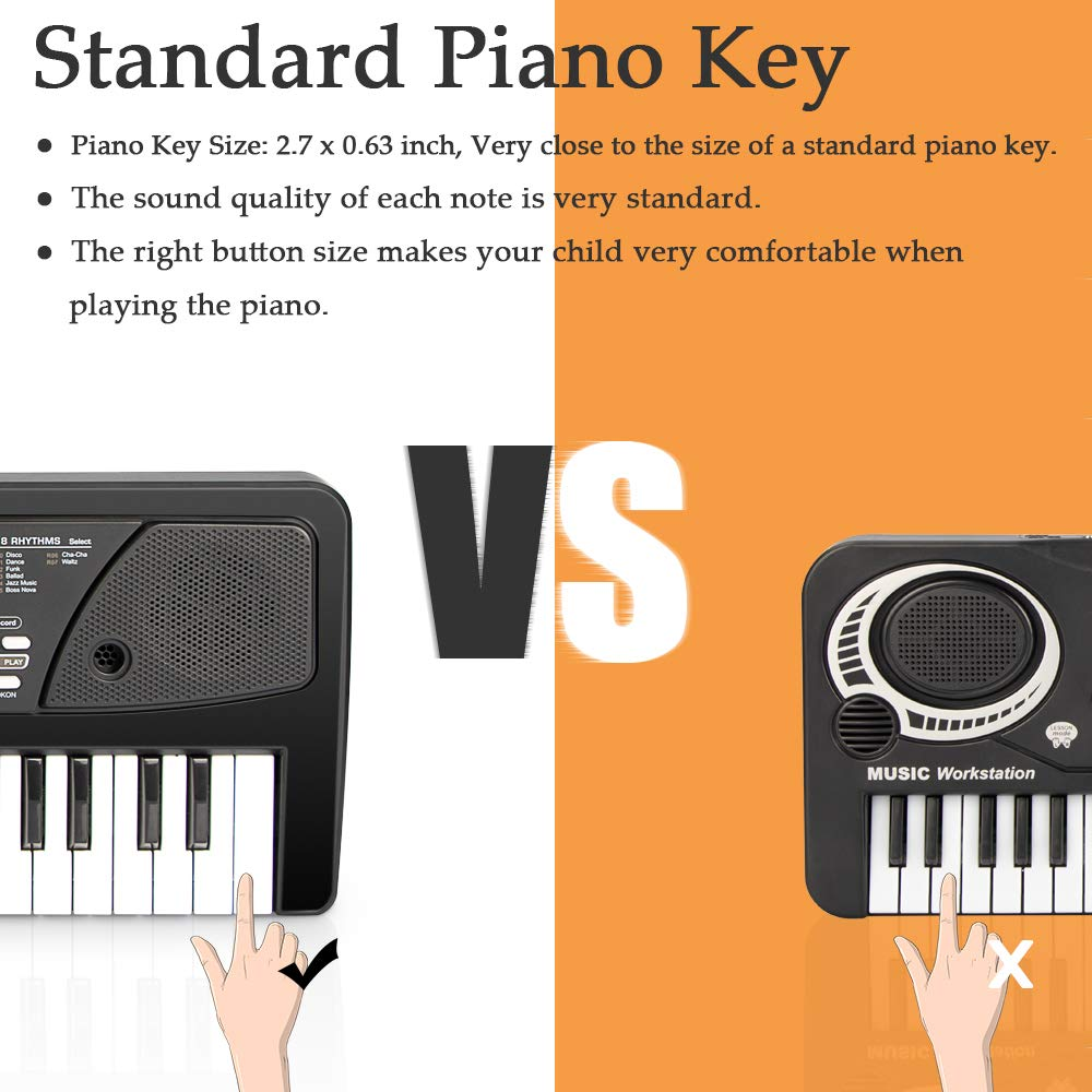SAOCOOL Piano for Kids , 49 Keys Piano Keyboard Multifunction Electronic Kids Piano with Microphone for Kids Early Learning Educational Toy (Black) by SAOCOOL (Image #4)