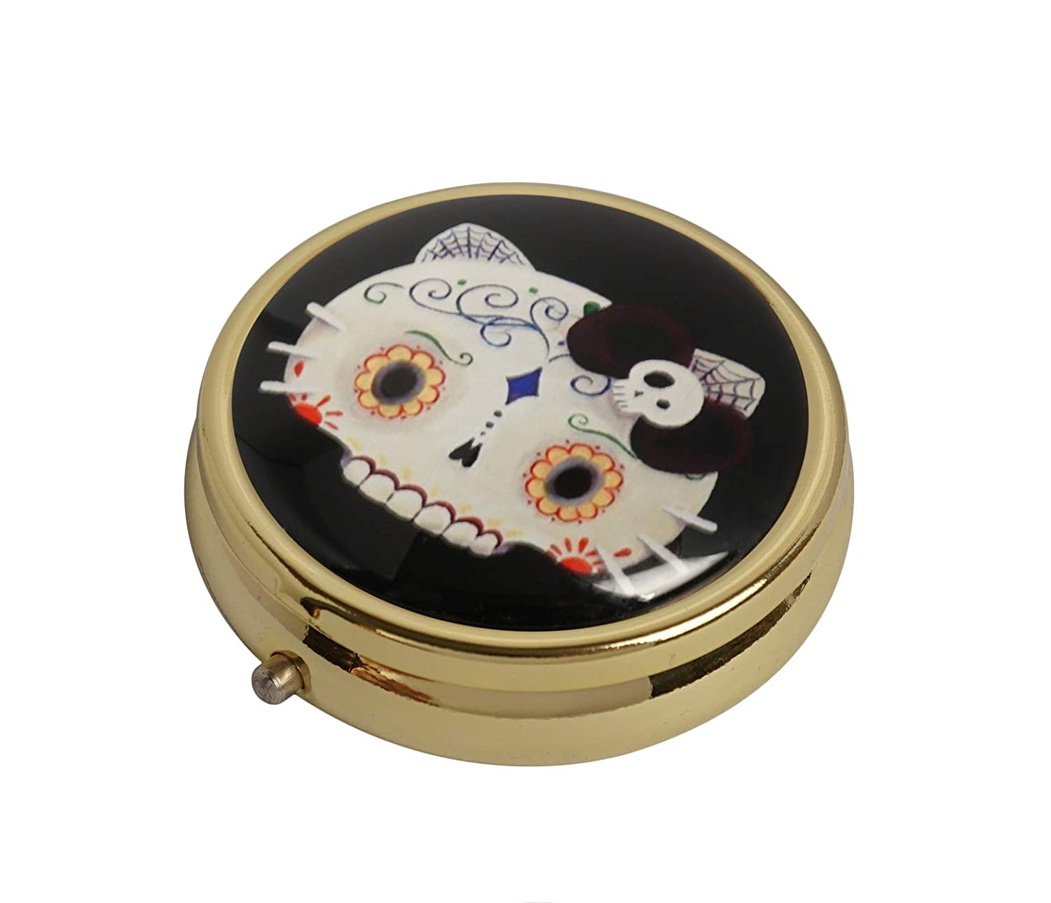 YunShop Sugar Skull CAT Custom Image Stainless Steel Gold Glass Pill Case Portable Pocket Travel Pill Box Storage Container