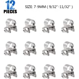 Glarks 12Pack 7-9mm Stainless Steel Mini Fuel Injection Hose Clamps Adjustable Pipe Hose Clip Tube Clamps Set (9/32''-11…
