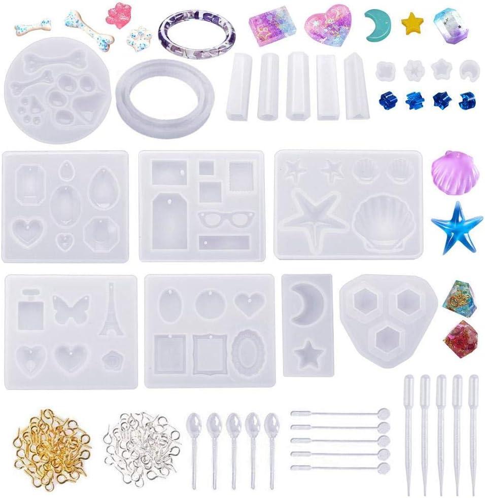 133pcs Molde de resina para joyería moldes de silicona para resina epoxi fundición de joyería colgante pulsera aretes estrella de mar moldes de concha con herramienta de medición mezcla de resina