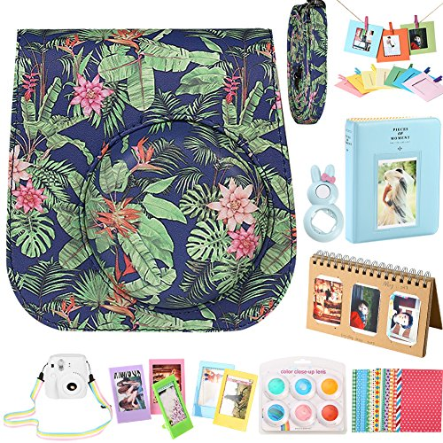 For Fujifilm Instax Mini 9 Instant Camera Accessories, Protective Case/ 2 Mini Album/ Selfie Lens/ 6 Colors Filters/ Neck Strap/ Hang Frames/ Table Frames/ Stickers. By SAIKA – Tropic Jungle