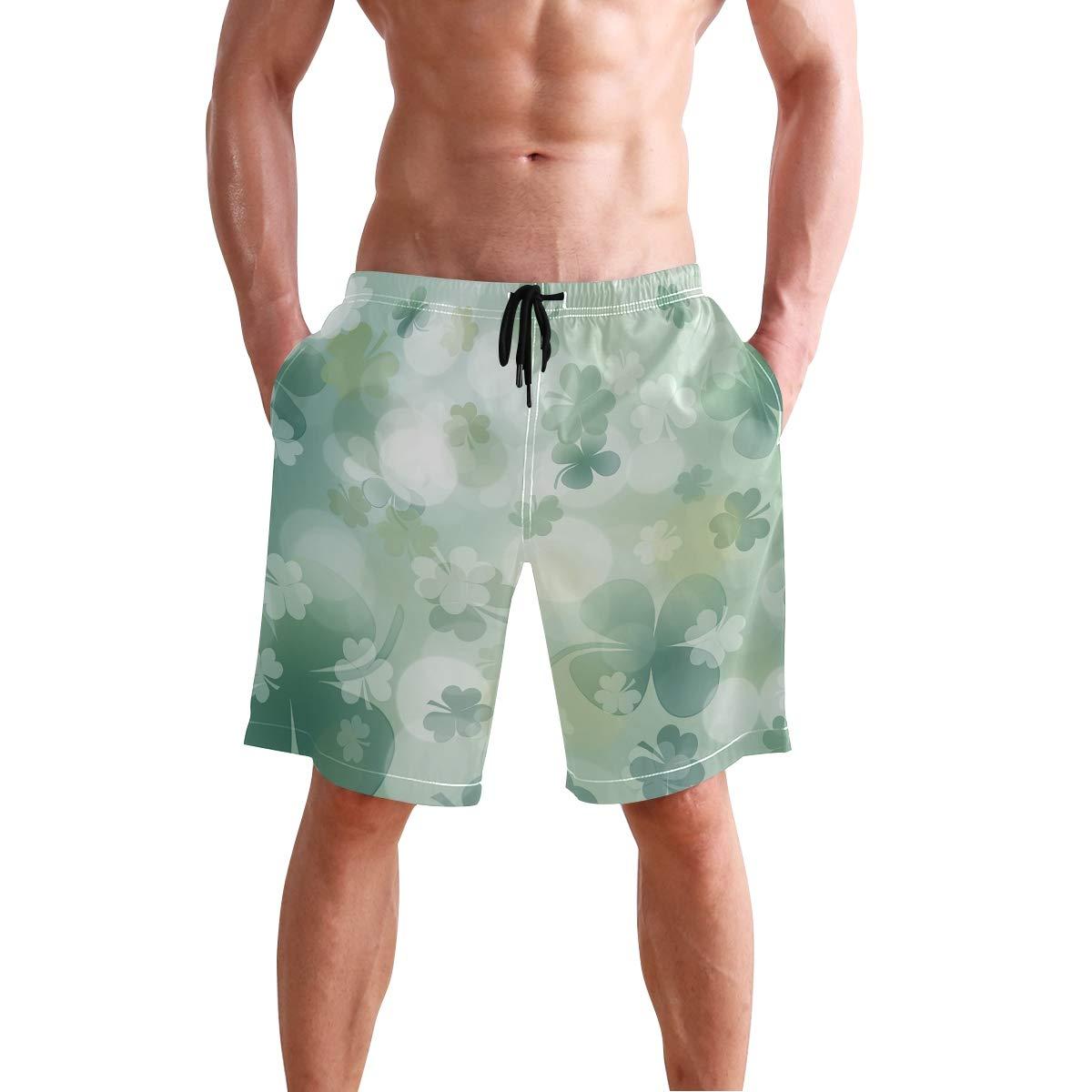 Patricks Day Mens Swim Trunks Quick Dry Beach Shorts with Mesh Lining
