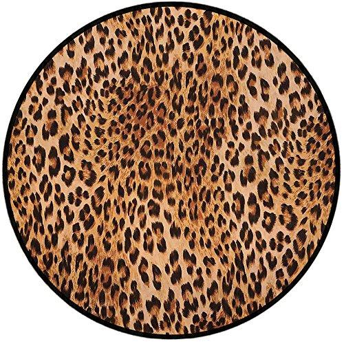 - Printing Round Rug,Animal Print Decor,Wild Animal Leopard Skin Pattern Wildlife Inspired Stylish Modern Illustration Mat Non-Slip Soft Entrance Mat Door Floor Rug Area Rug For Chair Living Room,Brown
